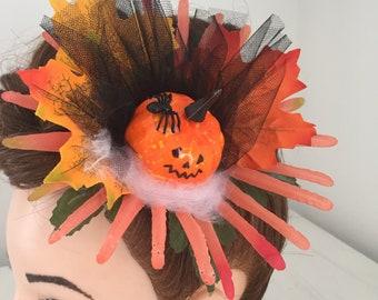 Hair Clip Halloween Pumpkin and Spider