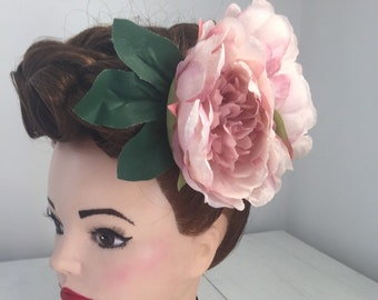 Large Double Blush Pink Peonies Hair Flower Clip