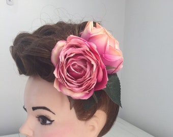 Double Pink Peonies Hair Flower Clip