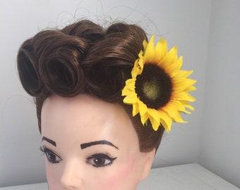 Yellow Sunflower Hair Flower Clip