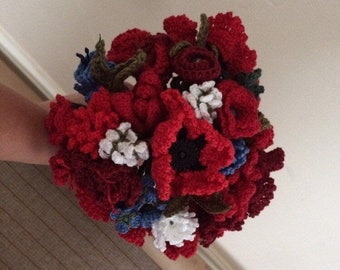 Crocheted wedding bouquet in any colour made to order.