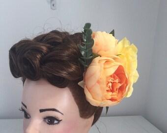 Double Peach Peonies and Lemon Rose Hair Flower Clip