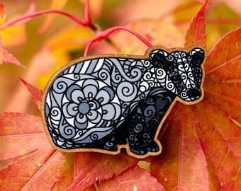 Badger Wooden Pin - DoodleMenagerie