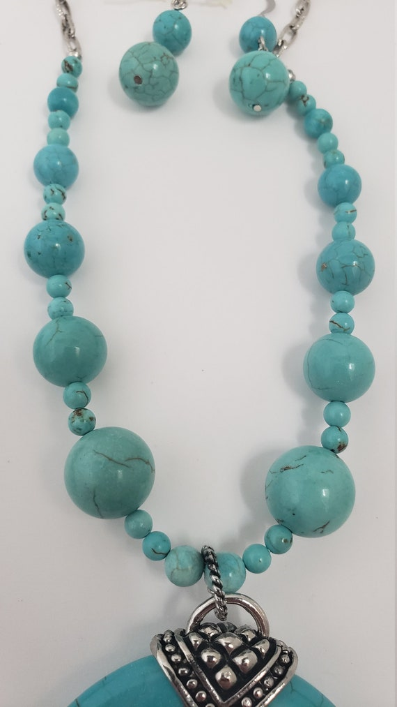 Turquoise stone jewelry set - chunky turquoise pe… - image 6