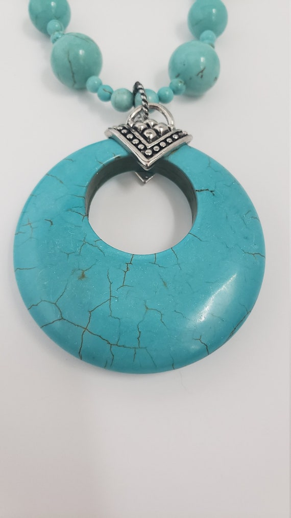 Turquoise stone jewelry set - chunky turquoise pe… - image 4