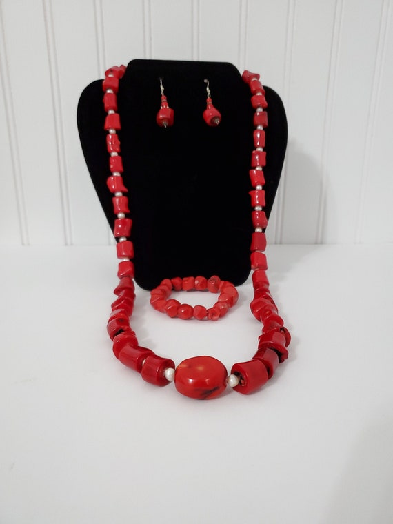 Red Sardinian Coral, silver and pearl necklace ear