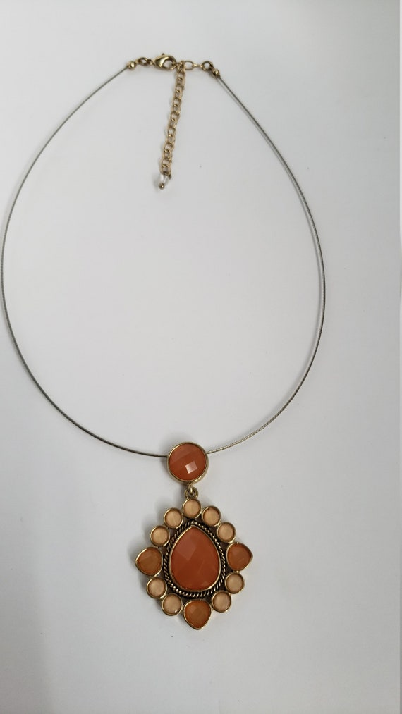 Napier necklace - orange and pink napier necklace