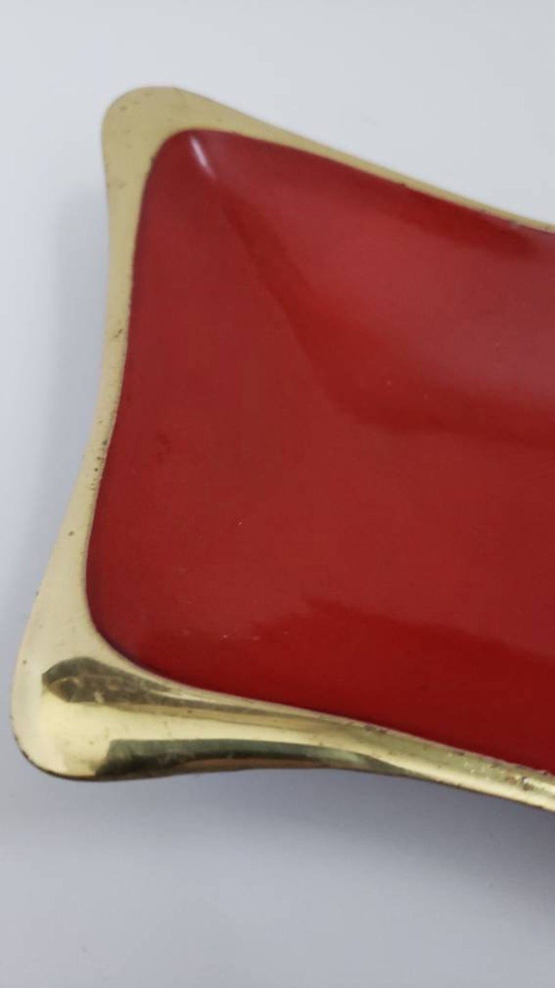 mid century modern ashtray red and gold vintage ashtray dayagi gold and red ashtray