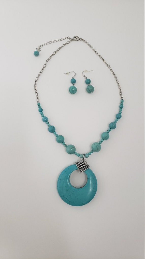 Turquoise stone jewelry set - chunky turquoise pen