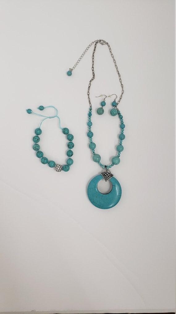 Turquoise stone jewelry set - chunky turquoise pe… - image 2