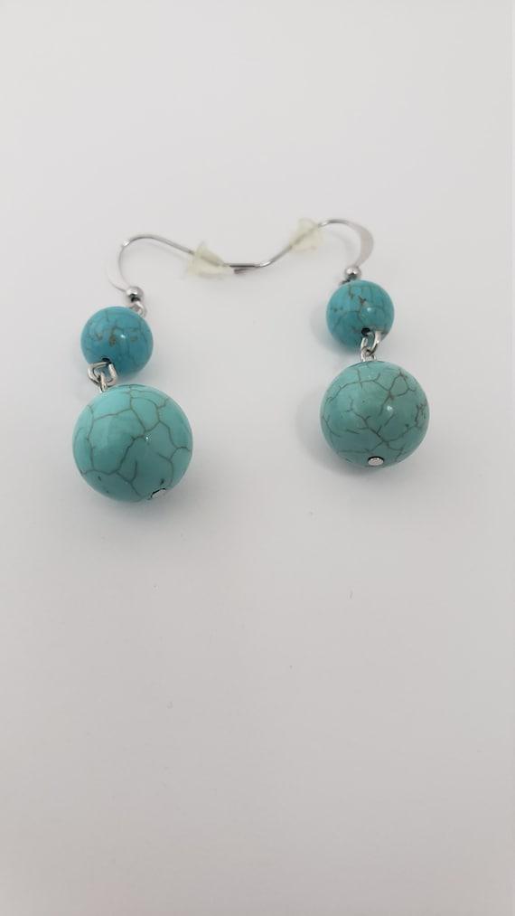 Turquoise stone jewelry set - chunky turquoise pe… - image 9
