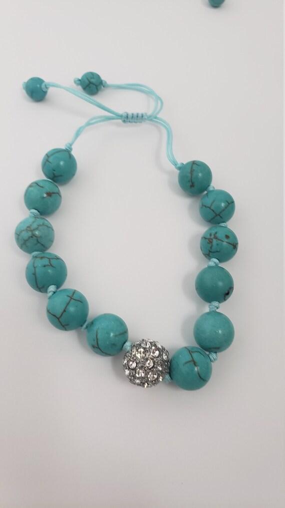 Turquoise stone jewelry set - chunky turquoise pe… - image 8