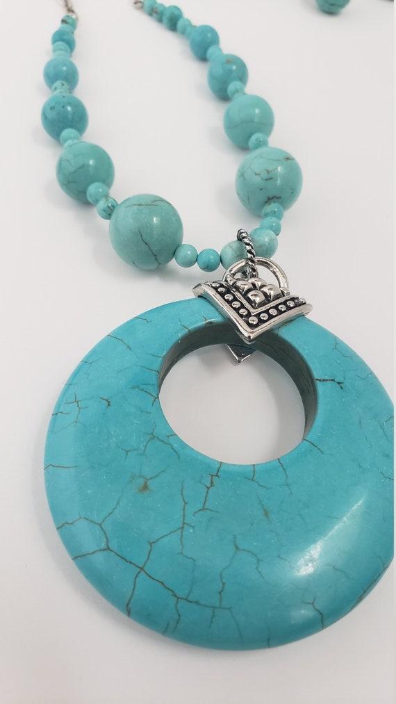 Turquoise stone jewelry set - chunky turquoise pe… - image 7