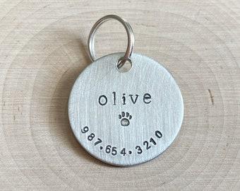 Dog Tag Custom Hand Stamped Metal Keychain