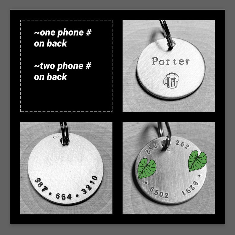 minimalist personalized dog id tag for collar with name and phone number on reverse hand stamped aluminum round 1 lost pet cat dog tag