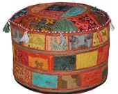 Indian Handmade Cotton Patchwork Foot Stool Floor Cushion Cover Ethnic Bean Bag Cover Decor