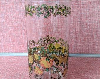 Vintage glasses vegetables Libbey Libby spice of life  bone Sante decor tumblers retro decor replacement