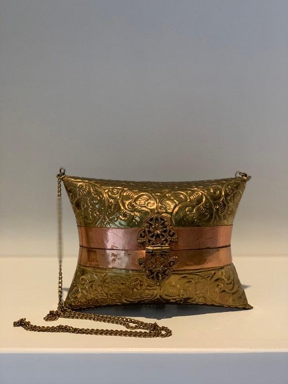 1970s Brass and Copper Pillow Purse , Boho Bohemia
