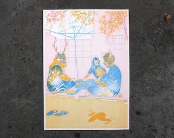 Garden Party, Risograph Print, Nature Illustration, Folklore Art