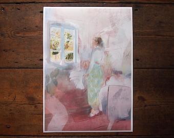 Sanctuary, Digital Print, Springtime Illustration, Dreamscapes and Interiors