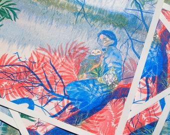 Girl and Owl, Risograph Print, Nature Illustration, Folklore Art