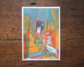 Girl and Pelican, Risograph Print, Lockdown Illustration, Dream Art