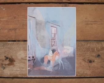 Sanctuary (Blue), Digital Print, Springtime Illustration, Dreamscapes and Interiors