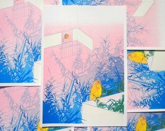 Owl in Lockdown, Risograph Print, Nature Illustration, Folklore Art