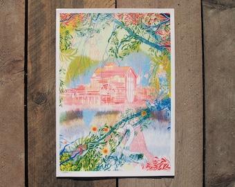 Jelka, Risograph Print, Nature Illustration, Folklore Art