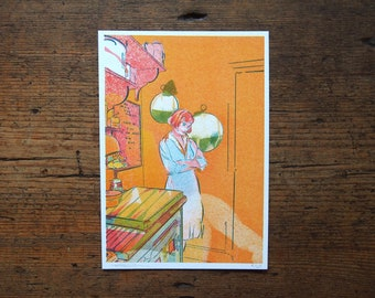 Girl in The Kitchen, Risograph Print, The Queens Gambit, Portrait Art