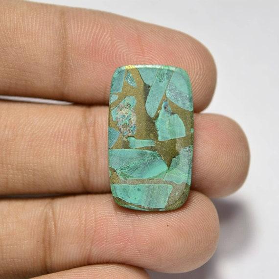 Copper Malachite Cabochon.. Copper Malachite Matrix Cabochon. Cushion Cabochon...23x14x4 mm...17 Cts...#C3183