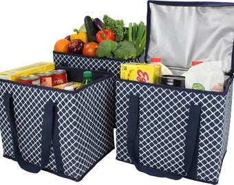 3Pack - 1 Zippered Insulated Grocery Bag + 2 Open Reusable Shopping Bags Heavy Duty, Thick Reinforced Bottoms