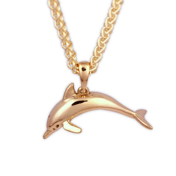 14k Yellow Gold Double Dolphins Charm Holder Pendant