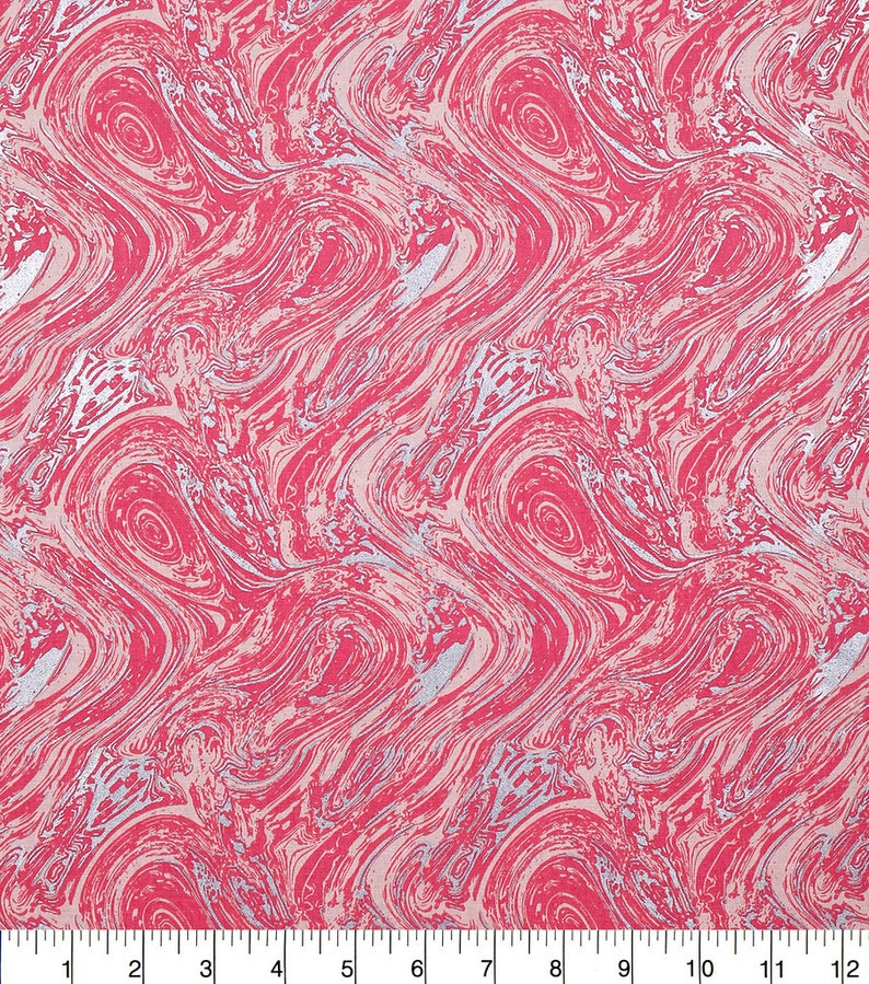 crafts quilts Oil Slick Metallic Coral 100/% cotton fabric in Fat Quarters and By-The-Yard for face masks sewing projects