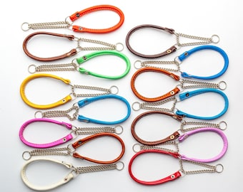 Martingale Dog Collar   Martingale Chain Rolled Leather Dog Collar   Martingale Small Dog Collar   Roll leather dog collar