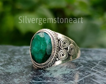 Emerald Ring, Green Stone Ring, Oval Stone Ring, Designer Ring, Cocktail Ring, Statement Ring, Boho Ring, Handmade Ring, Christmas Gifts