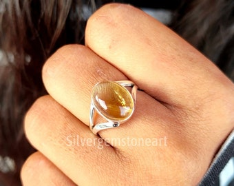 Natural Citrine Ring, Citrine Oval Stone Ring, Citrine Ring, Citrine Statement Ring, Citrine Boho Ring, Dainty Citrine Ring, Christmas Gifts