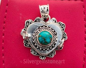 Heart Design Pendant, Love Message Pendant, Natural Turquoise Pendant, Poison Box Pendant, Blue Copper Turquoise Pendant, Christmas Gifts