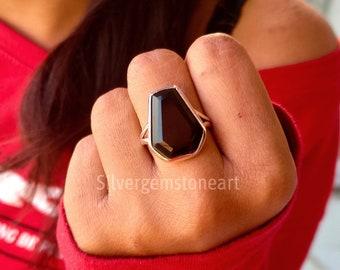 Coffin Black Onyx Ring, Coffin Ring, Boho Coffin Ring, Healing Ring, Handmade Coffin Ring, Coffin Black Gemstone Ring, Christmas Gifts