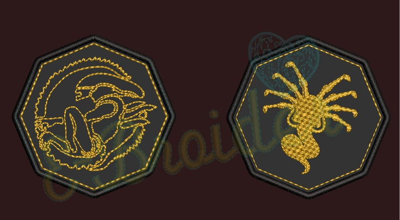 3 octagon shaped  in .8mm suede made in USA XENOMORPH and FACEHUGGER embroidered leather patches