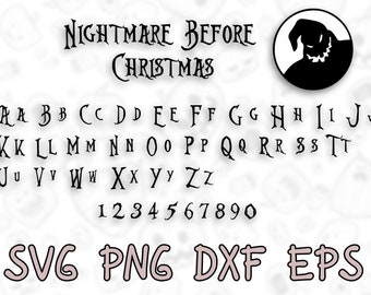Nightmare Before Christmas Fonts.Skellington Font Etsy