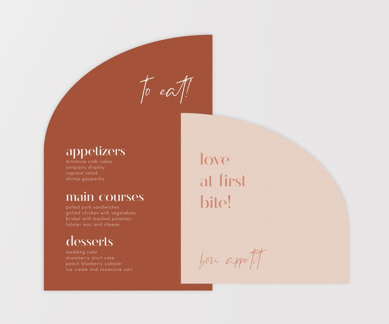 Morocco-Themed Wedding Dinner Invite with Menu - Modern and Minimalist