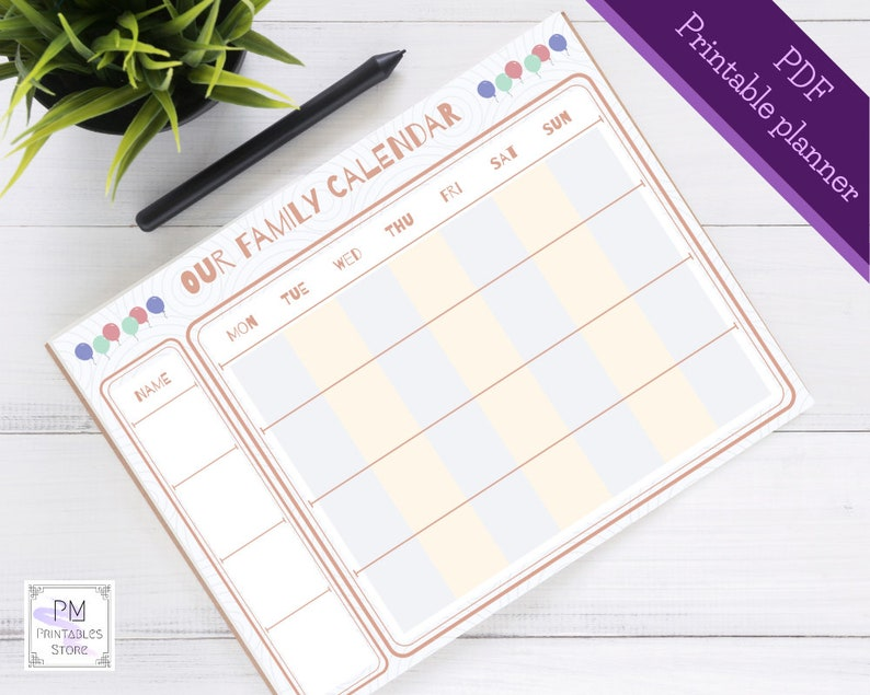 photograph about Weekly Family Planner identify Printable loved ones calendar, undated weekly loved ones planner, household business enterprise or agenda