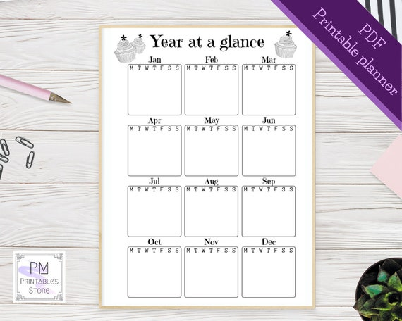Printable Bullet Journal Pages Undated Calendar Template 12 Month Calendar Printable Calendar Pdf