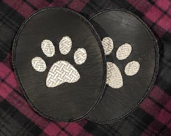 Elbow Patches / Elbow Patches paws / Elbow Patches embroidery /Dark Eco leather / Set of 2