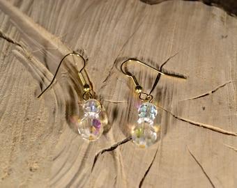 Handmade Black /& Opalescent Abstract Drop Earrings Pierced