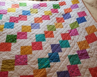 Quilt for Sale, Lap quilt, bright colors, quilt for sale, handmade quilts, colorful quilt