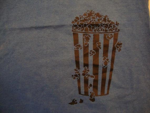 Vintage Popcorn Movie Theaters Blue T Shirt Size M