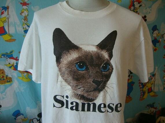 Vintage 90's Siamese Cat T Shirt L