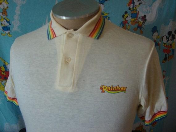 Vintage 80s Rainbow Stripe Polo Shirt M